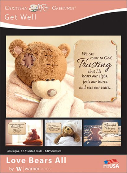 Boxed greeting cards get well love bears all warner press sweet teddys remind that love bears all featuring warm fuzzies and hopeful scriptures these cards are sure to lift up those who are recovering m4hsunfo
