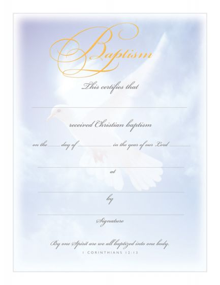 Baptism Certificate  Premium Gold Foil Embossed Warner Press