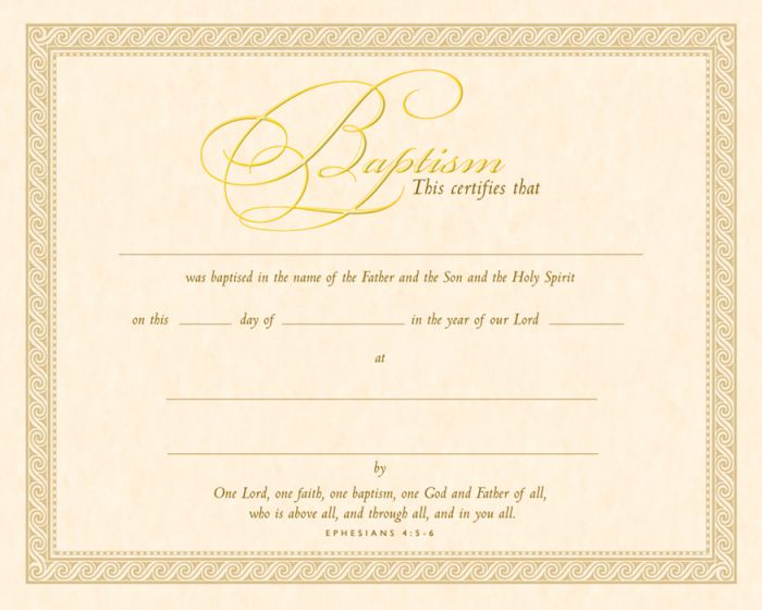 Baptism Certificate  Parchment Gold Foil Embossed Warner Press