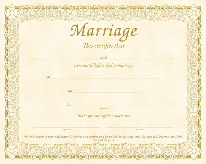 Marriage Certificate  Parchment Warner Press