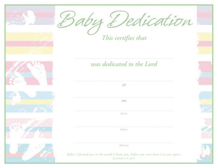 Baby Dedication Certificate  Premium Green Foil Embossed
