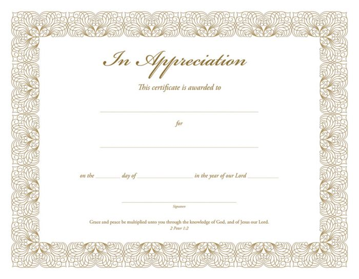 In appreciation certificate premium gold foil embossed warner press yadclub Image collections