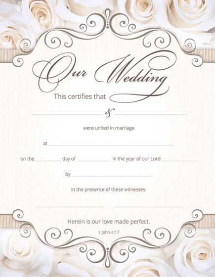 Marriage Certificate  Coated Full Color Warner Press