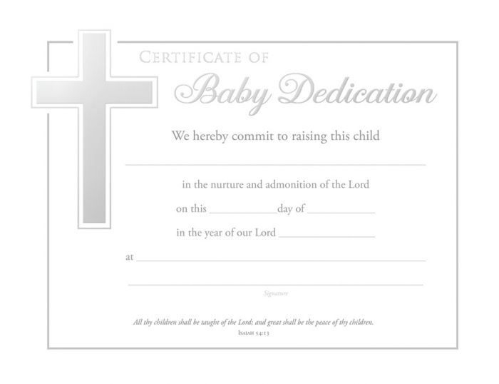 Baby Dedication Certificate  Premium Silver Foil Embossed Warner Press