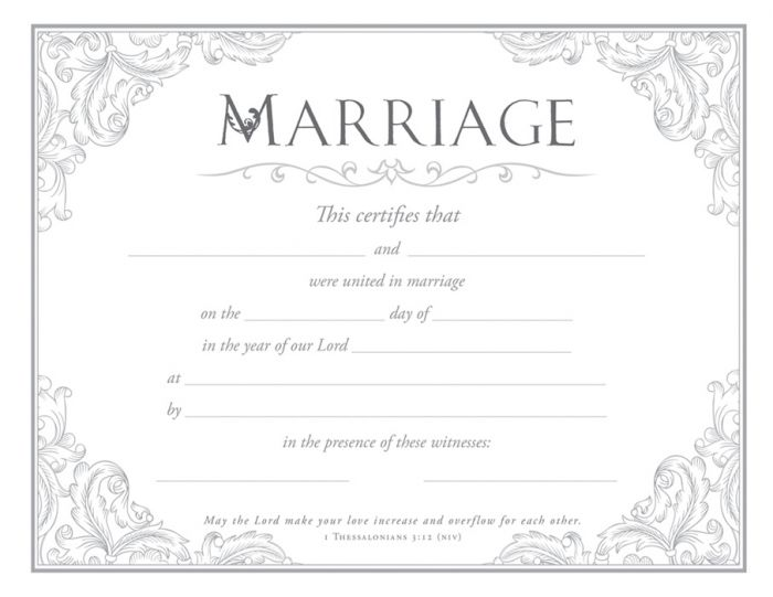 Marriage Certificate  Premium Silver Foil Embossed Warner Press