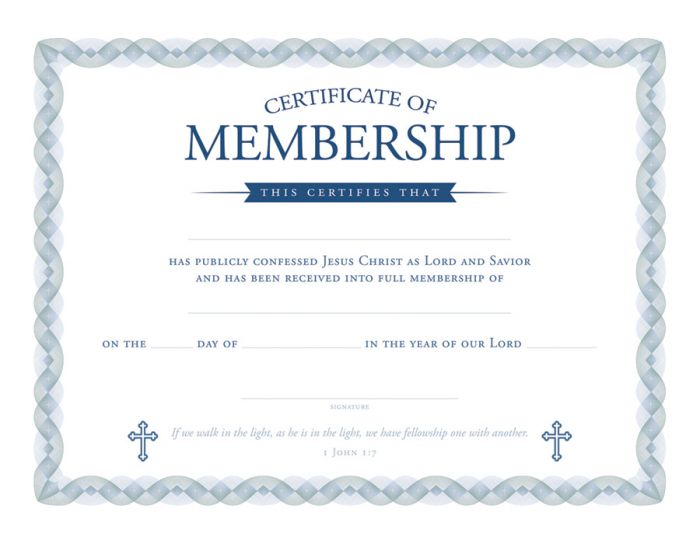 Membership Certificate - Premium, Blue Foil Embossed Warner Press