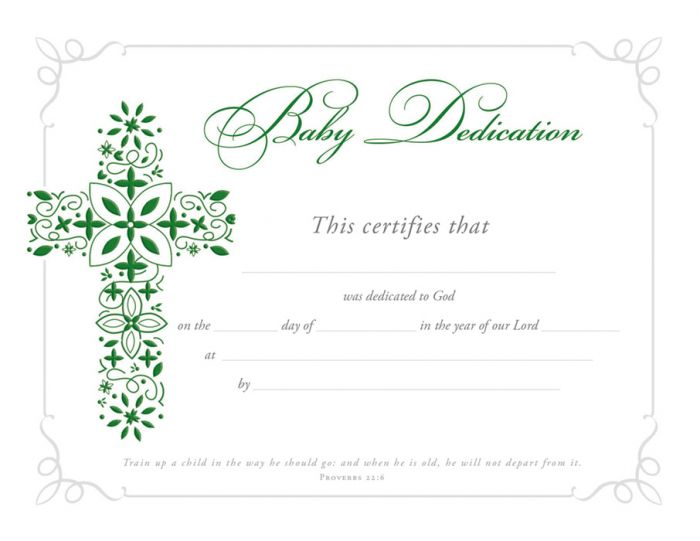 Baby Dedication Certificate  Premium Foil Embossed Warner Press