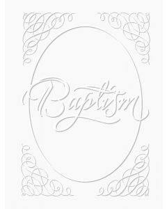 Baptism Certificate - 5x7 folded, Premium, Silver Foil Embossed