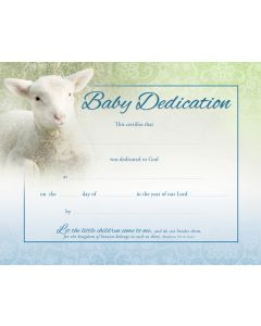 Baby Dedication Certificate - Coated, Full Color