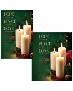 Christmas Bulletin - Hope, Peace, Love  (multiple size options)