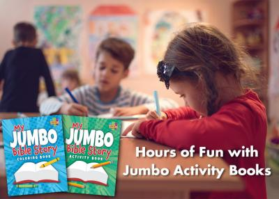 Jumbo Bible story coloring & activity books offer kids hours of fun