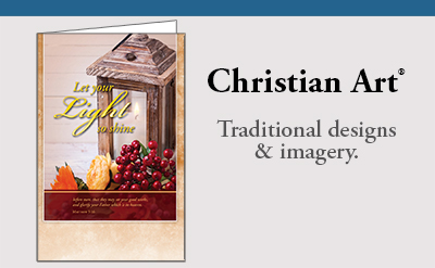 Christian Art bulletins with traditional designs and imagery