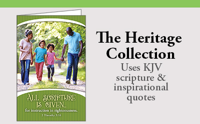 Heritage Bulletin Collection uses KJV scripture and inspirational quotes