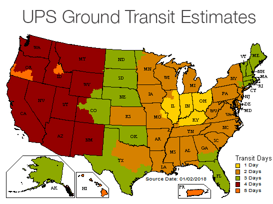 UPS Shipping Timetable Map